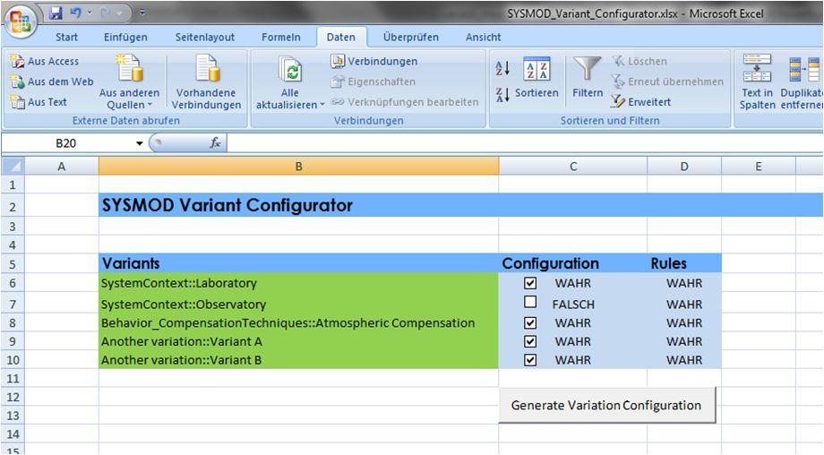 SYSMOD Variant Configurator (prototype)