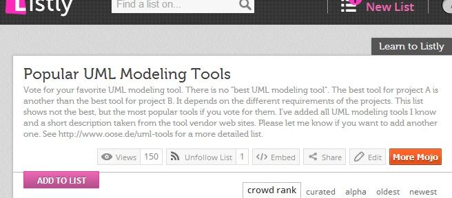 List.ly: Most popular UML modeling tools