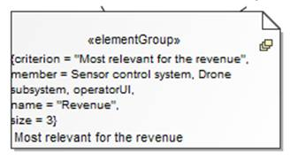SysML 1.4 ElementGroup